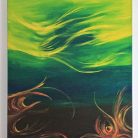 Abstract Yellow and Green - Acrylic